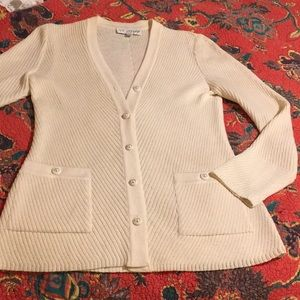 St John Collection P ivory cardigan pearl buttons